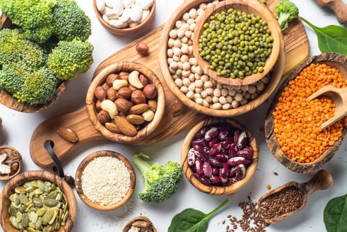 Plant-based protein sources (beans, nuts, broccoli, etc.)